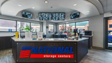 Leasing office at National Storage Centers in Comstock Park, MI.