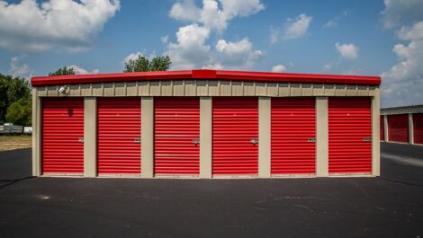Red and tan storage unit at National Mini Storage.