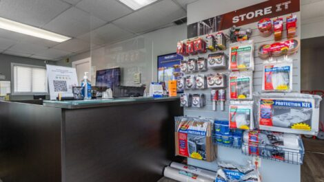 Leasing office with packing and moving supplies at National Mini Storage in Kalamazoo, MI.