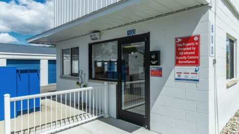 Exterior of leasing office at National Storage Centers in Pontiac, MI.