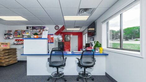 Leasing office with packing and moving supplies at National Storage Centers in Pontiac, MI.