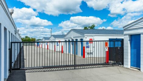 Bloomfield East storage facility entrance with security gate.