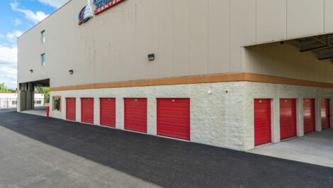 Outdoor storage units and loading area at National Storage Centers in Pontiac, MI.
