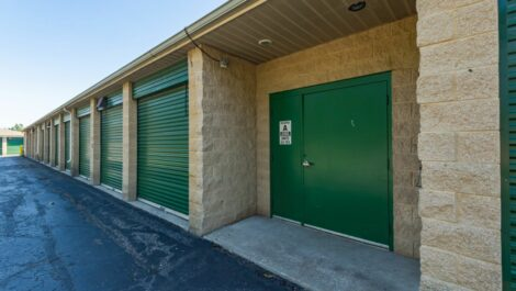 Storage Unlimited drive-up units and security door.