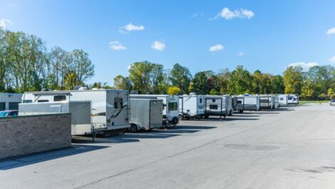 Outdoor boat and RV parking at Secure Self Storage II in Monroe, MI.