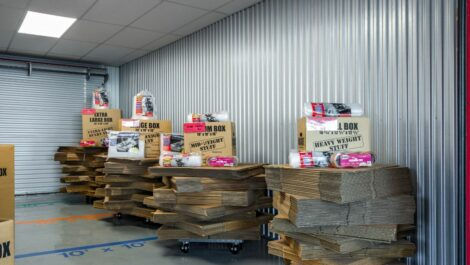 Stacks of moving boxes at National Storage Centers in Southfield, MI.
