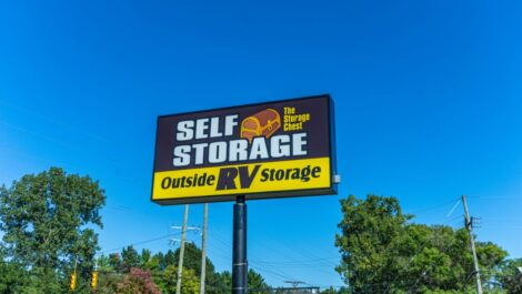 The Storage Chest roadside sign.