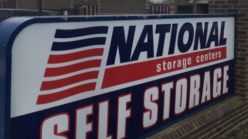 National Storage Centers sign in New Hudson, Michigan.