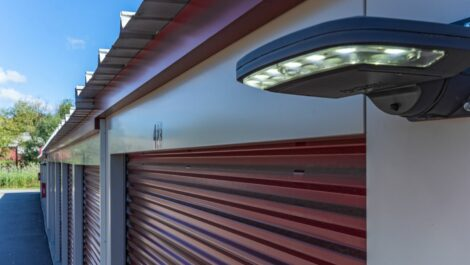 National Storage Centers - Grand River Lyon security lights on drive-up units.