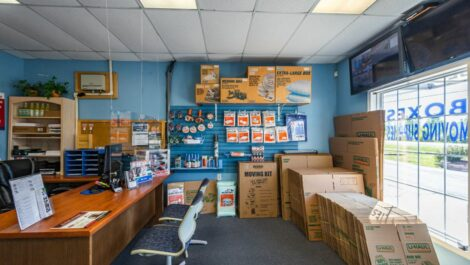 Leasing office with packing and moving supplies at A Plus Self-Storage in Swartz Creek, MI.