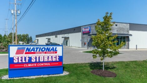 National Storage Centers sign outside the facility in Byron Center, MI.
