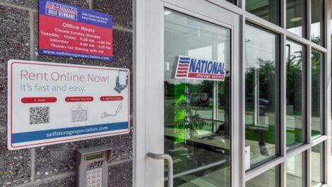 Front door at National Storage Centers in Byron Center, MI.