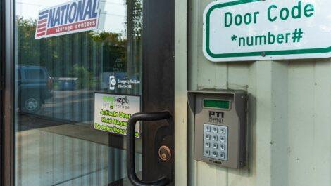 Front door and access code at National Storage Centers in Grand Rapids, MI.