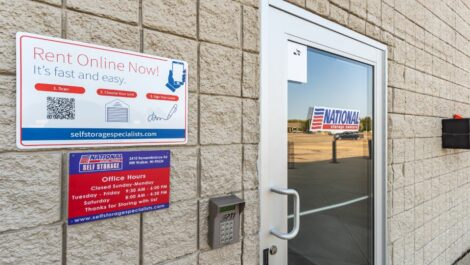Front door and access code at National Storage Centers in Walker, MI.